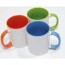 Porcelain coffee mug with colored handle