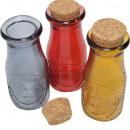 wholesale Decoration: Glass bottle with cork closure 14.5x6x6cm