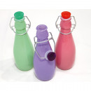 Glass decorative bottle with closure 17.5x5.5x5.5c