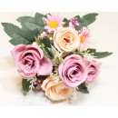 wholesale Artificial Flowers: Rose bush 30x16cm with approx. 10 heads
