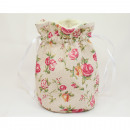 Beautiful linen floor pouch 18x12x12cm with roses