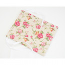 Great linen fabric bag with rose motif 20x16cm