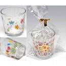Lantern glass including candle 6.5x5.5cm 3 motifs