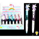 Unicorn ballpoint pen with light 16cm assorted