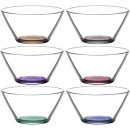 Glass Bowl Set of 6! 345ml colored bottom in box
