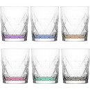 wholesale Drinking Glasses: Glass tumbler set of 6! colored 345ml gift box