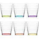 Glas Trinkglas 6er Set!Boden farbig 345ml,in Box