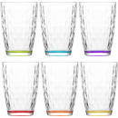 wholesale Drinking Glasses: Glass tumbler set of 6! 415ml colored, gift box
