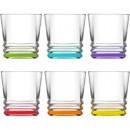 Großhandel Gläser: Glas Trinkglas 6er Set! 315ml, Boden eckig/farbig