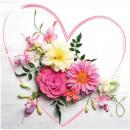 Prémium szalvéta 20er 33x33cm, virágszív