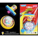 Spinning top 7.5 cm with light, 2 colors assorted