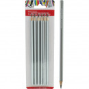 Triangular pencil, set of 6 on HB card, 17 cm