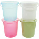 Bucket 2L with lid, 4 colors assorted