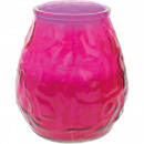 Bougie lanterne en verre XL rose 8,5x10cm 465g