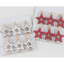 Wooden decorative clips with stars, set of 6, each