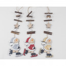 wholesale Decoration: Wooden hanger snowman XL 31x6.3cm, 3-f. sort