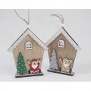 wholesale Decoration: Wooden house hanger 13x9.8cm, 2- times assorted