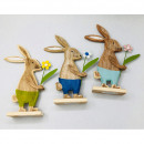 Wooden rabbit 12x12x3.5cm with colored pants and f