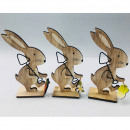 Wooden rabbit XL 14.5x7.5x3.5cm, with metal spade