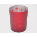 Lantern glass 'Red Stars', matt metallized