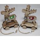 groothandel Speelgoed: Houten eland op houten wagen 12x7.5x4.5cm, met ...