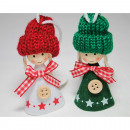 wholesale Headgear: Felt girl with wooden head and woolen hat, 9x4cm