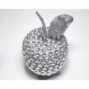 Plastic apple silver 12x8x8cm