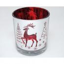Großhandel Home & Living: Windlichtglas 'Hirsch' weiß, rot metallisiert