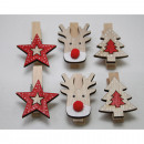 Wooden decorative clips, set of 6, each approx. 3.
