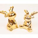wholesale Toys: Dolomite elk 6.5x5x4cm gold chromed