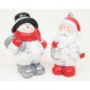 Jultomten eller snögubbe av keramik 7,5x6x4cm