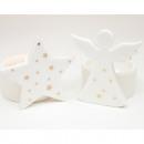 Porcelán tealight tartó fehér csillag / angyal 7x6
