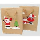 Ajándék táska 'Kraft paper Santa / Snowman'