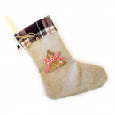 Jute santa boots XL 28x20cm with fabric check bord