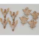 Wooden pegs elk and angel XL set of 4, each 6x5cm