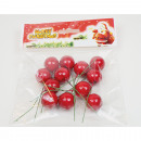 Red berries set of 12 with metal wire, 2.5cm each
