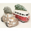 Ceramic bus and car with Christmas tree 9x4x8cm