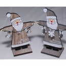 grossiste Chaines: Père Noël en bois avec chaîne en métal 12x9x4cm av
