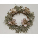Deco wreath 15x4cm with 4 glittering flowers