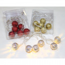 wholesale Light Garlands: LED ball chain set of 6 in 3 colors assorted