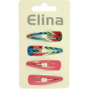 Hairclip 4er, each 2 colors and pattern 4,5 x 1,3
