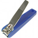 Nail clipper 7cm with collecting container blue