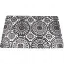 Placemat 44x28cm black / white circle design