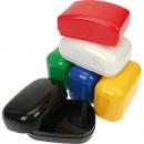 Großhandel Taschen & Reiseartikel: Seifendose unifarben Farben sortiert 10x7x4c mit