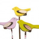 wholesale Garden & DIY store: Wooden bird with tree slice wings on bar