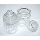 wholesale Crockery: Storage jar 13x8x8cm, with lid and stripe structur