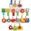 wholesale Decoration: Decoration Wooden Clamp funny Set of 3, 5cm, 9 mot