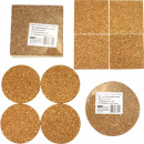 Cork Coaster 4s 10x0.5cm round and angular sorti