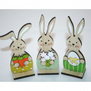 Wooden rabbit 12x4,5x3cm, on wooden stand, 3 times