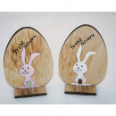 Holzhase 9x6x3cm, Happy Easter in XL Holzei